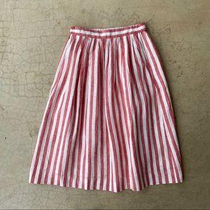 J.Crew Pink White Striped Summer Linen Midi Skirt